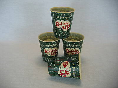 4 Vintage Bubble Up Soda Pop Paper Cups 4 oz Advertising Display