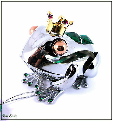 Crystocraft. Silver Frog Prince With Swarovski Strass Crystals & Gold Crown.