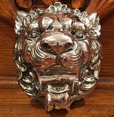 NWOT CHINESE FOO DOG LION HEAD WALL HANGING Shiny Silver Chrome Color 6.5""
