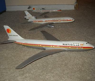 Three Rare Vintage National Airline Planes W/o Stands T-Flight Product 747 Dc 10