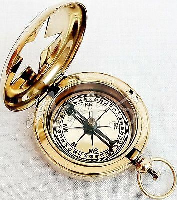 Solid Brass Polished Pocket Compass Vintage Antique Camping Push Button Compass