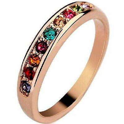 Size 5-9 Rose Gold Plated Ring Wedding Statement Candy Rainbow Cocktail Party