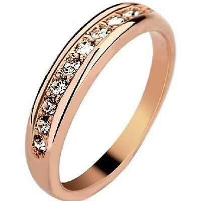 Size 5-9 Rose Gold Plated Ring Cluster Wedding Engagement Anniversary Statement