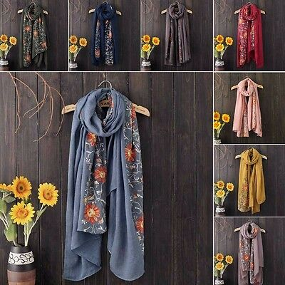 Fashion Floral Nepal Style Women Cotton Long Scarf Shawl Wrap Winter Autumn NEW