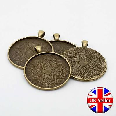 Antique Bronze 40mm Circular Round Pendant Fob Blank Settings