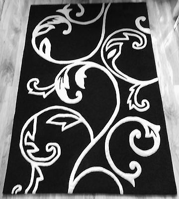 BLACK AND WHITE SWIRL FLORAL PATTERNED RUG 180cm x 120cm (6ft x 4ft)