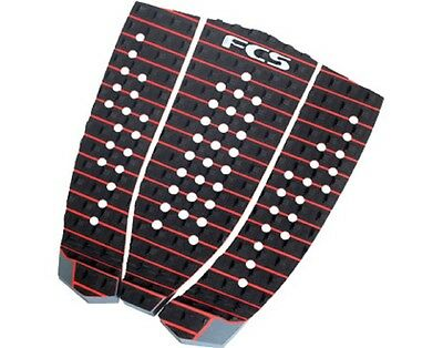 New FCS Ryan Hipwood Surfboard 3 Piece Traction Pad - Black / Fire Engine Red