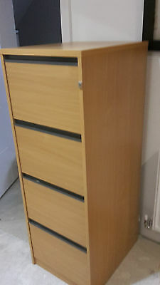 4 Drawer Beech Coloured Filing Cabinet