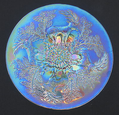 Fenton Collectibles Stag & Holly Green Carnival Glass  Plate