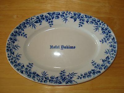 Vintage Antique KT & K Knowles Taylor Ironstone Oval Plate w Blue - Hotel Dahimo