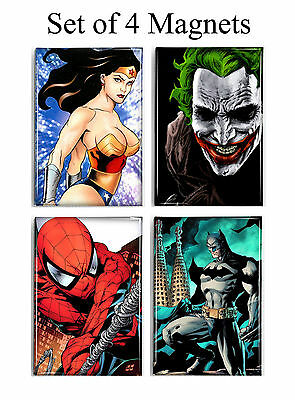 Superheroes Wonder Woman Joker Spiderman Batman  Set of 4