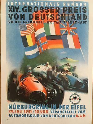 Original And Rare Mint Condition 1951 German Grand Prix Flyer