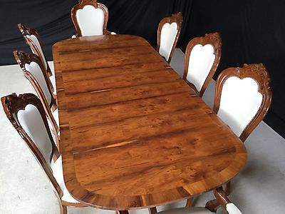 Art Deco Grand Regency Style Burr Yew Tree Dining Table Pro French Polished