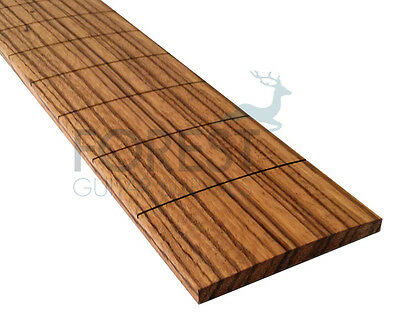 """Zebrawood guitar fretboard, fingerboard 24.562"""" Gibson, slotted compound radius"""