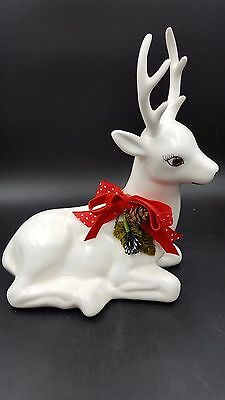 Vintage Artistic Gifts 1988 White Ceramic Christmas Reindeer Figurine Red Ribbon