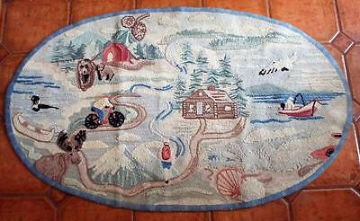 Vintage L.L. BEAN Hand Hooked HOME Oval Rug 5' x 3' Cabin Lake Moose Wilderness