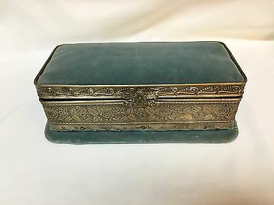 Victorian Antique Silver plate Blue Velvet Lined Footed Vanity Jewelry Box