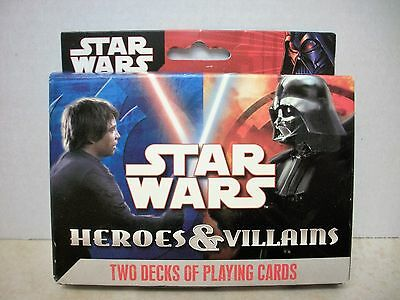 STAR WARS HEROES & VILLAINS TWO DECKS OF PLAYING CARDS-Sealed decks in box