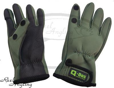 Neoprene Gloves Fishing Hunting Shooting Fold Back Fingers Size M/L & L/XL Q-Dos