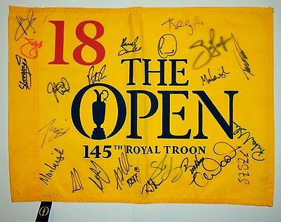 The open multi signed 2016 pin flag / British open / COA