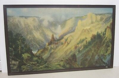 1900's Framed Thomas Moran Yellowstone Art Print Northern Pacific Railway NPRY