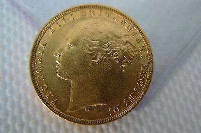 Victoria Young Head 1871-1887 Gold 1 full Sovereign gold bullion coin