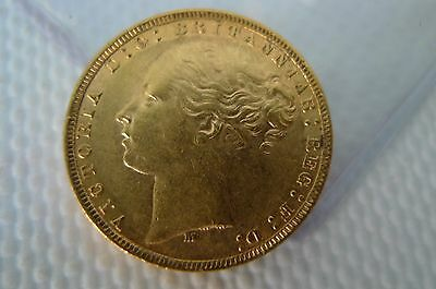 Young Head Victoria Gold full Sovereign coin, 1 Full Sovereign coin 1871-1887