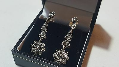Sterling silver & marcasite vintage Victorian antique flower dangly earrings