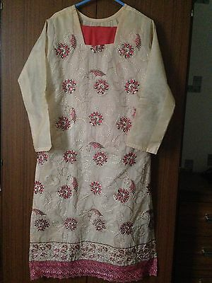 New Ladies Asian Cotton Material Cream And Orange Girls 12-13 Yrs Salwar Kameez