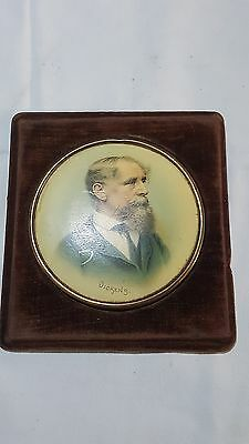 Vintage Victorian antique chromo lithograph on copper of Charles Dickens