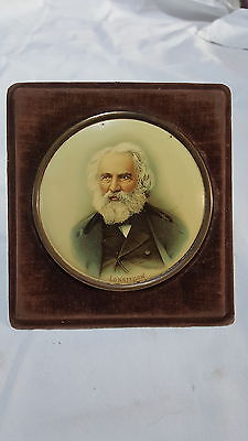 Vintage Victorian antique chromo lithograph on copper of Longfellow