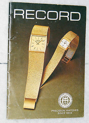 Record Precision Watches brochure issued by Record Watches Ltd, Switzerland