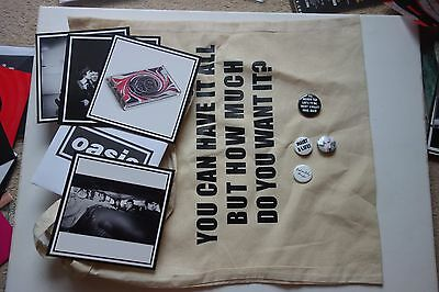 Oasis - Supersonic Tote Bag + 4 X Badges What A Life ... + Postcard Set