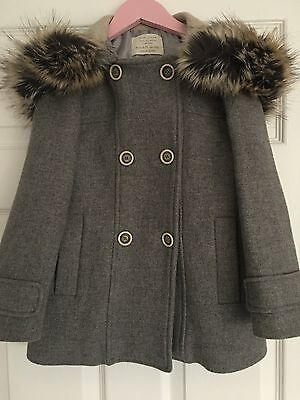 Zara Girls Beautiful Grey Wool Coat Age 6-7 Yrs - Excellent Condition