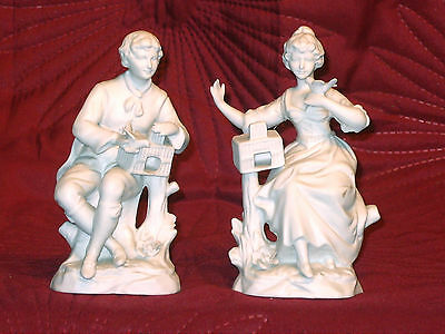 """Pair Of Fine Porcelain Continental Classical Antique Bisque Figurines 6"""" Tall"""