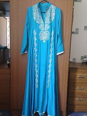 Ladies Asian Size Extra Small Light Blue Cotton Material Full Length Kurta