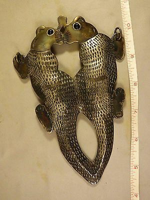 Original Fur Trade Indian Kissing Otters Pendant Glass Eyes Hand Engraved 1800's