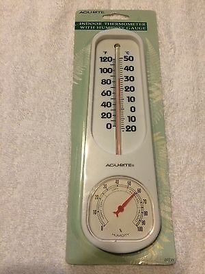 ACU RITE Indoor Thermometer with Humidity Gauge 00339 - NEW - White Plastic