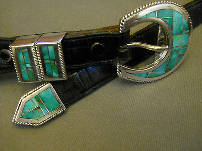 Turquoise sterling silver buckle set / ranger set LARRY CHAVEZ