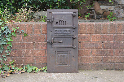 62.8 x 30.2 cm old cast iron fire bread oven door doors  flue clay range pizza