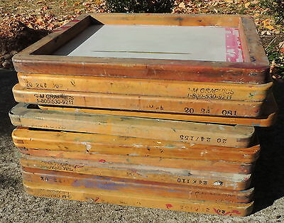 (10) Used Heavy Wood Silk Screen Printing Frames 20 X 24 - Need ReStrung