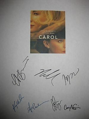 Carol Signed Script Cate Blanchett Rooney Mara Kyle Chandler Production notes rp