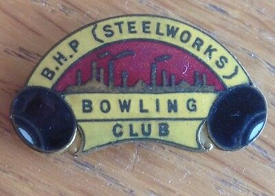 BHP Steelworks Bowling Club Badge Rare Quality Vintage_