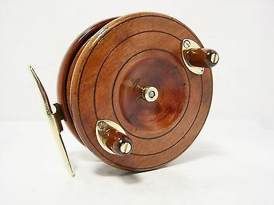 """Vintage Antique Wooden & Brass Smith & Wall 4"""" Spineback Fishing Reel"""