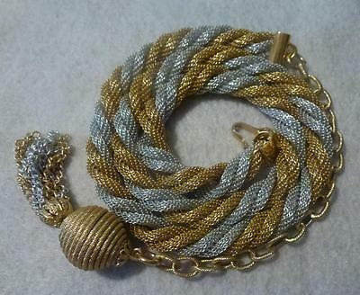 Vintage Gold Silver Tone Twisted Mesh Belt with end Dangle Chains