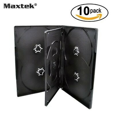 10 Pack Maxtek Standard 14mm Black Six (6) Disc DVD Cases with Double Sided Flip