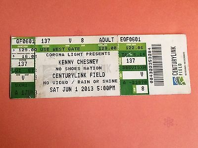 Kenny Cheney  NO SHOES NATION CENTURYLINK FIELD Jun 1 2013 Concert Ticket Stub