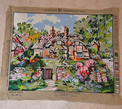 Vintage Country Garden House Completed Tapestry Canvas Pegasus Originals 50x40cm