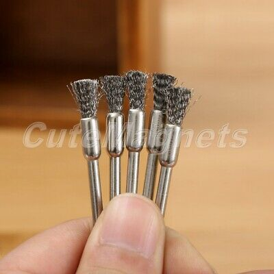 10Pcs 5mm Steel Wire Wheel Pencil Brushes  Grinder Drill Rust Weld Rotary Tool