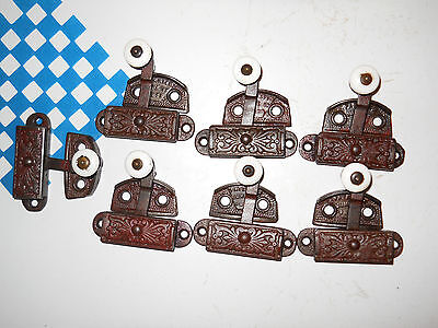 7 EASTLAKE CAST IRON WINDOW LATCHES DATED 1873 very ornate locks